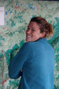 Sara checking out wall map
