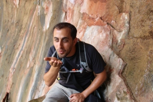 Tzachi blowing kisses at Weeping Rock