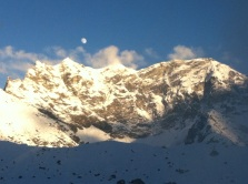 Moon during sunset, Everest Region