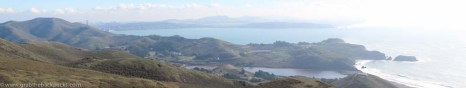 Panorama view from the Bay through the Golden Gate and out over the Pacific Ocean